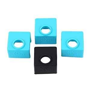 FYSETC 3D Printer MK10 Silicone Socks MK10 Heater Block Silicone Cover Hotend Protection for Wanhao i3 Mini Creator 4 Pcs Blue+Black