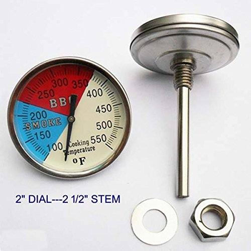 """UPC 603629517234, Grill Valueparts Dia. 2"""" 550F (2-pack) BBQ Charcoal Grill Pit Wood Smoker Temp Gauge Thermometer 2.5"""" Stem SS"""