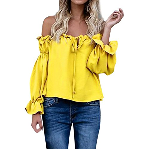 CUCUHAM plain dressy t shopping yellow open shoulder criss tight v off the up flowy online latest new buy best cool shop wear grey women type casual collar(yellow , US:8/CN:XL)