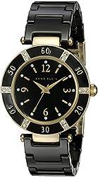 Anne Klein Women's 109416BKBK Swarovski Crystal Accented Gold-Tone Black Ceramic Watch