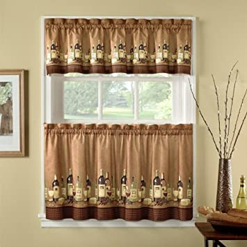 Curtains Ideas 36 inch tier curtains : Amazon.com: 36-inch Length Wines Tailored Tier Curtain And Valance ...