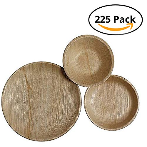 CaterEco Round Palm Leaf Dinnerware Set (225 Pack) | (75) Dinner Plates, (75) Salad Plates and (75) Bowls | Ecofriendly Disposable Dinnerware | Heavy Duty Biodegradable Party Utensils  for Wedding, Camping & More