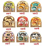 mrGood 5pcs/Set Animal Zoo Baby Plate Bow Cup Forks Dinnerware Feeding Set 100% Bamboo Fiber Baby Children Tableware Set