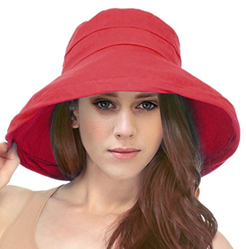 Simplicity Women's Cotton Summer Beach Sun Hat with Wide Fold-Up Brim Red