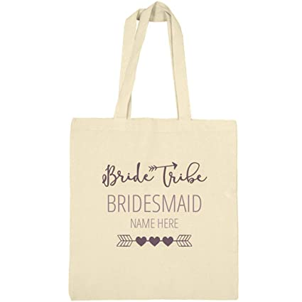 d3f7a7212e Amazon.com: Cute Custom Name Bridesmaid Bride Tribe Tote Bag: Canvas  Bargain Tote Bag: Bridal Party Tees