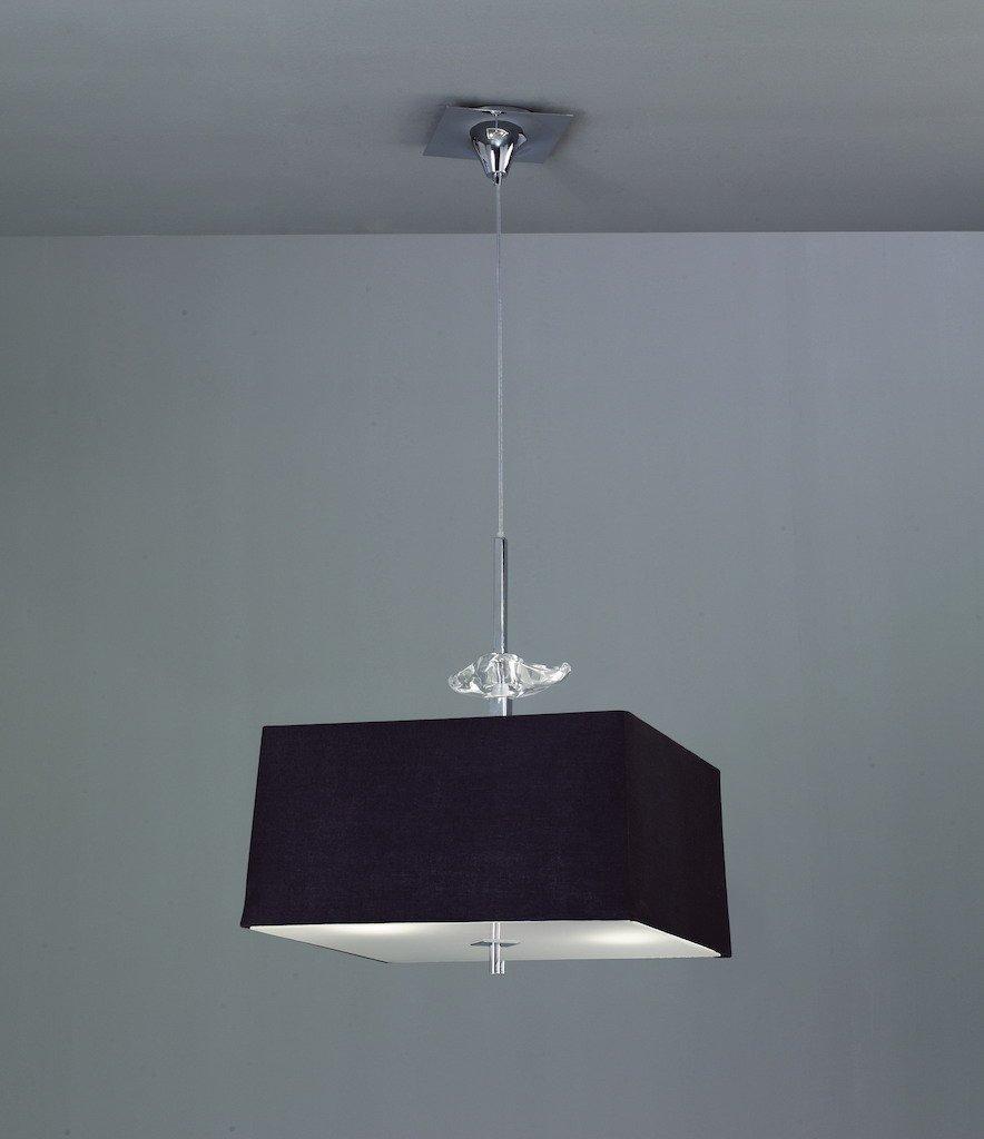 L/ámpara colgante 4 luces colecci/ón Akira color cromo y tela negra Mantra