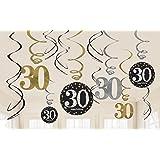 Amscan 670478 Gold Celebration 30th Swirl Decoration Value Pack