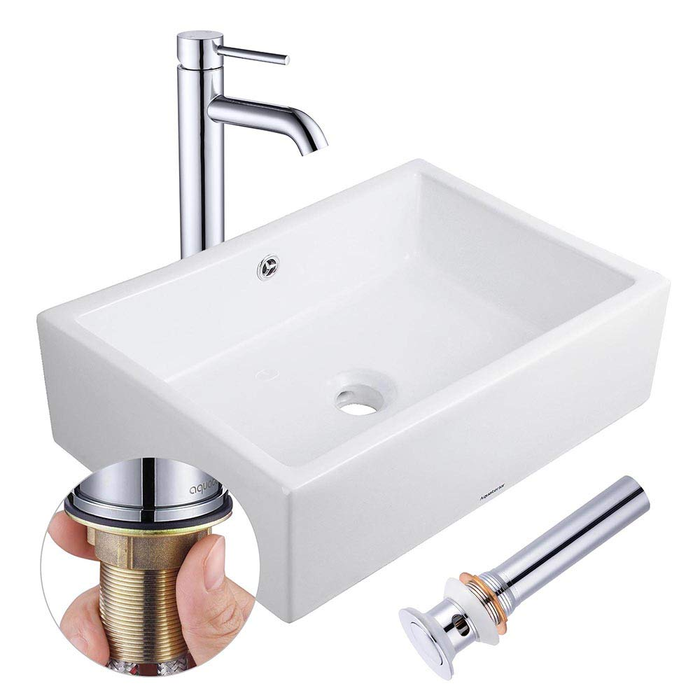 Aquaterior Rectangle Porcelain Ceramic Bathroom Vessel Sink w Overflow 12 1 2 Chrome Faucet Lavatory Drain Set