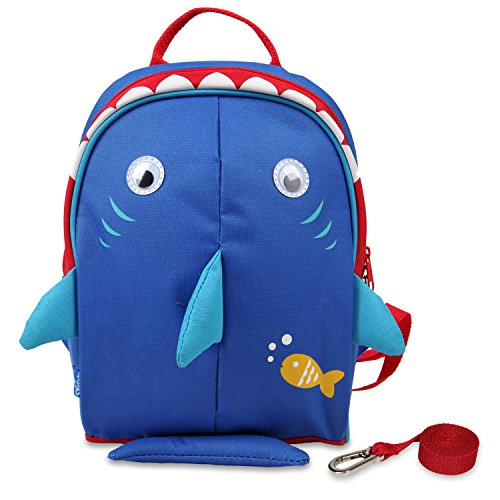 yodo Kids Insulated Toddler Backpack with Safety Harness Leash and Name Label - Playful Preschool Lunch Boxes Carry Bag, Navy Shark