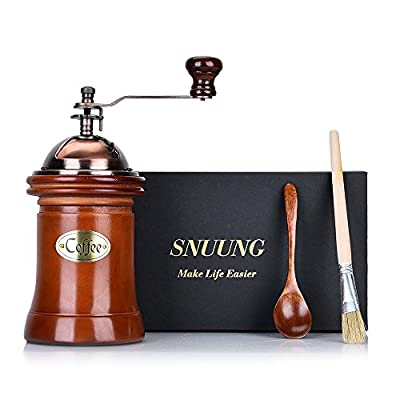 SNUUNG Manual Coffee Grinder Portable Hand Crank Mill Adjustable Ceramic Burr