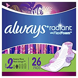 Always Radiant Feminine Pads for Women, Size 2, 78 Count, Heavy Flow Absorbency, with Flexfoam Wings, Light Clean Scent…