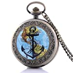 Glorio Antique Bronze Sailing Map Vintage Pocket Watch Charm Pendant Necklace Prop Men Women Gift Necklace Quartz Chain Retro