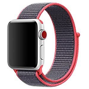 series 3/2/1 Woven Nylon Casual Watch Band sport loop for Apple Watch Iwatch Strap Wrist Bracelet Connector Mounted for 38/42m (Orange red, 42mm)