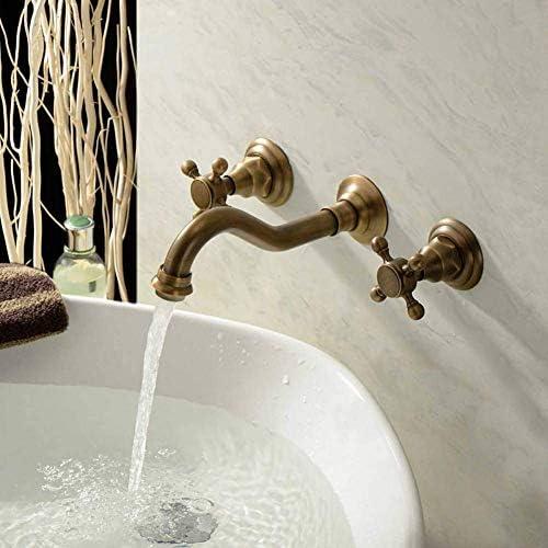 ZT-TTHG 水タップ蛇口シンクヴィンテージ真鍮モダンなスタイルの壁はバスタブ蛇口タップセット盆地コールドホットダブルコントロールラウンドバス浴室のシャワーの蛇口をマウント