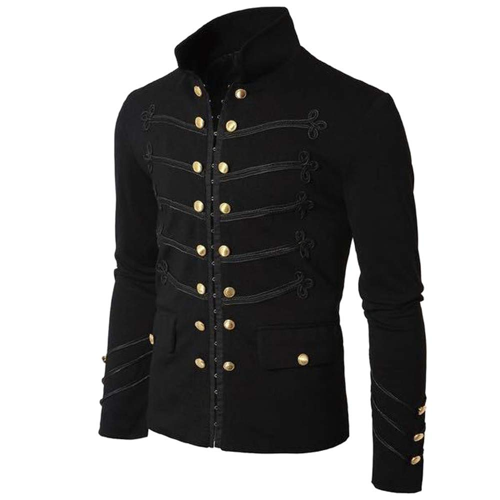 Men Gothic Vintage Jacket Double Breasted Formal Gothic Victorian Coat Costume (M, Black) by Yihaojia Men Blouse