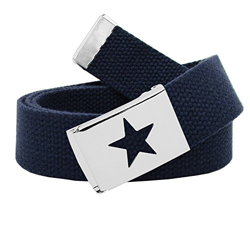 Girl's Star Silver Flip Top School Uniform Belt Buckle with Canvas Web Belt Small Navy
