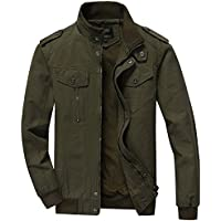 RongYue Men's Cotton Stand Collar Lightweight Military Windbreaker Jacket