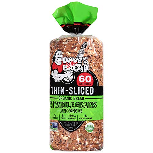 Dave's Killer Bread, 21 Whole Grains Thin-Sliced 60 Calories, Organic, 20.5 Ounce