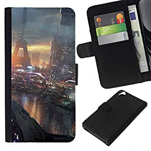 NEECELL GIFT forCITY // Billetera de cuero Caso Cubierta de protección Carcasa / Leather Wallet Case for HTC Desire 820 // Futuro París Francia