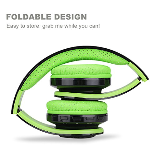 Excelvan Folding Wireless Bluetooth LED Stereo Headphones Adjustable Headsets, FM Radio/ TF Card for iPhone All Android Smartphones PC Laptop MP3/MP4 Tablet Earphones,Green