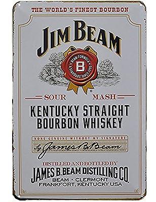 Jim Beam Kentucky Straight Bourbon Whiskey Tin Signs,12 x 8 inches