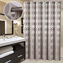 Hookless Bathroom Shower Curtain by Goodbath, Hotel Style Round Circle Pattern Heavy Weight Waterproof and Mildew Resistant Fabric Bath Curtains, Extra Long 72 x 84 Inch, Khaki