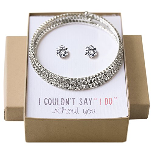 AMY O Wedding Jewelry set, Crystal Bracelet and Earring set gift for Bridesmaids Bridal Party