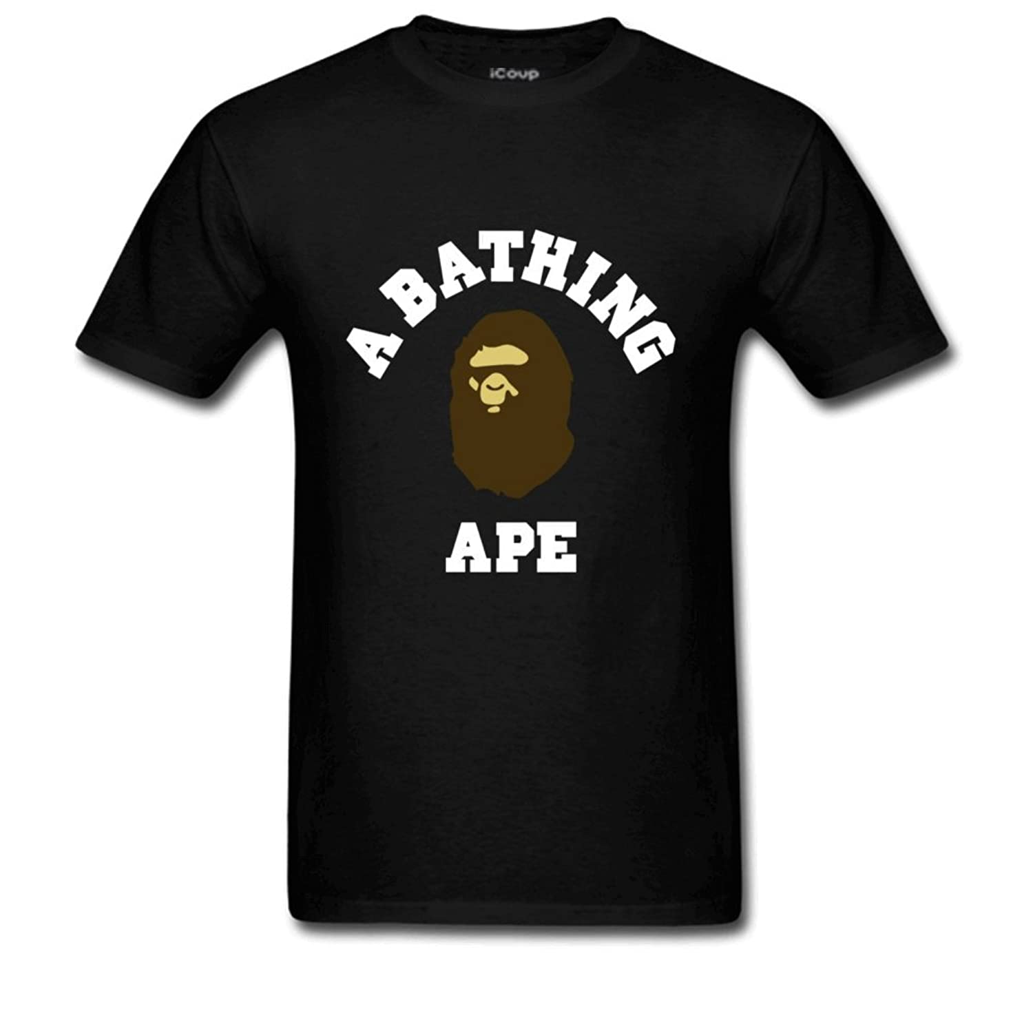 Spend Freely Men's Bape Brown And White Cotton Short Sleeve Crew Neck T Shirt Black by Amazon
