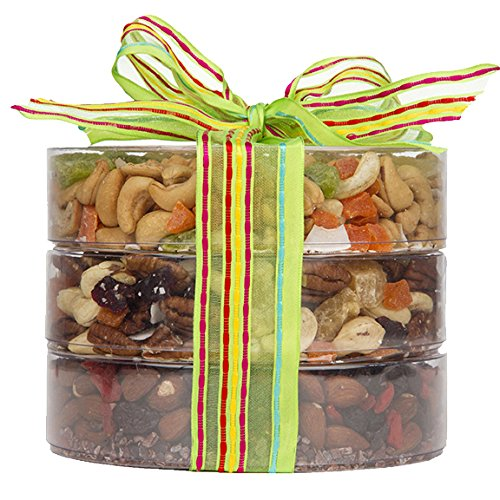 The Exotic Trail Mix Tower, Fruit and Nuts Gift, Perfect as a Thank You Gift, Perfect Gift or for Any Occasion, Small-Batch Kettle Roasted For Superior Freshness, Nuts Never Tasted This Good