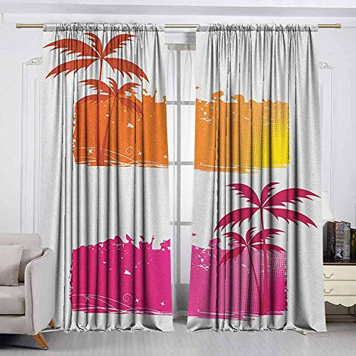 VIVIDX Outdoor Curtains,Orange and Pink,Grungy Backgrounds with Tropical Palm Trees and Halftone Elements,Room Darkening Thermal,W72x63L Inches Orange and - Pre Pink Zebra Palm