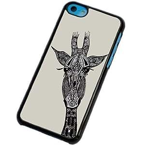 Carcasa Posterior de Plástico/Metal con Marco Negro y Diseño de Jirafa Azteca para iPhone 5C