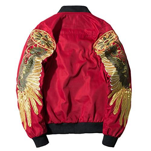 (Chartou Men's Classic Snake-Embroidery Lightweight Flight Baseball Jacket Windbreaker (Large,)