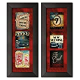 admit one ticket wall art - Gango Home Decor Contemporary Admit One Movie Tryptic & Now Showing Movie Tryptic by Mollie B. (Ready to Hang); Two 6x18in Black Framed Prints