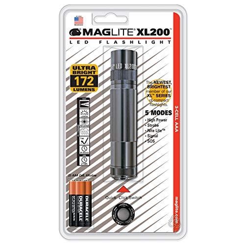 Aaa Cell Maglite Flashlight - Maglite XL200 LED 3-Cell AAA Flashlight, Gray