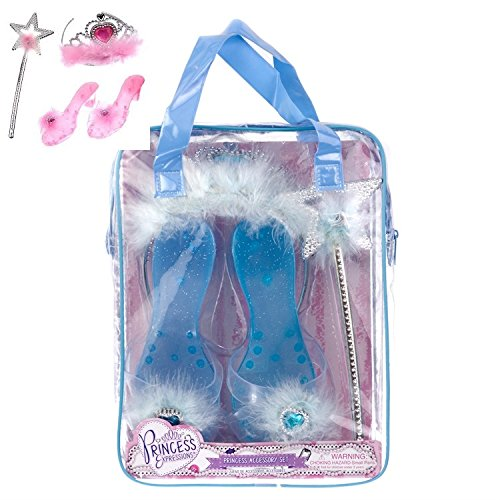 Doc Brown Costume Ideas (Princess Blue Dress up Party Accessories - 3 Piece Set: Gloves, Tiara and Wand For Kids)