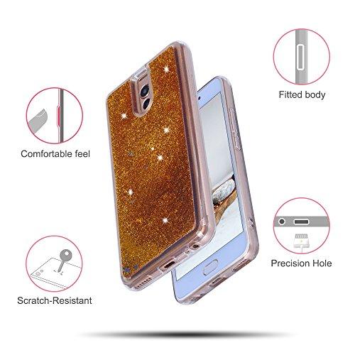 Funda Meizu M6 Note, Caselover 3D Bling Silicona TPU Arena Movediza Carcasa para Meizu M6 Note Glitter Líquido Brillar Lentejuelas Suave Transparente Cristal Protección Caso Anti Arañazos Tapa Choque  Oro