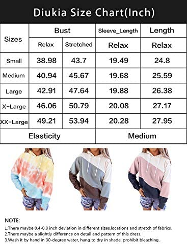 Diukia Women's Tie Dye Color Block Long Sleeve Hoodies Pullover Drawstring Pullover Sweatshirt Tops