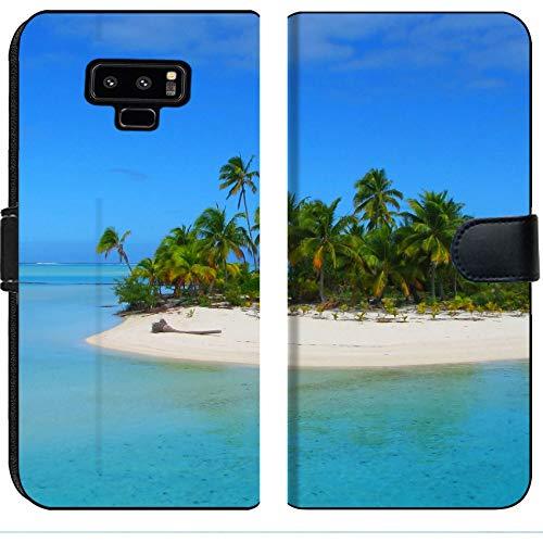 Luxlady Samsung Galaxy Note 9 Flip Fabric Wallet Case Beautiful Beach in One Foot Island Aitutaki Cook Islands Image ID 4293654