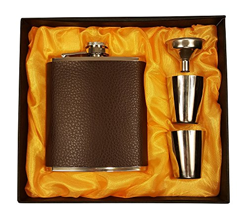 Gift Set Vodka (Brown Leather 7 Oz Flask Gift Set with Two Shot Glasses and)
