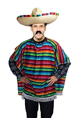 The Three Amigos Costumes (Mexican Three Amigos Poncho Male Budget Fancy Dress Costume - One Size)