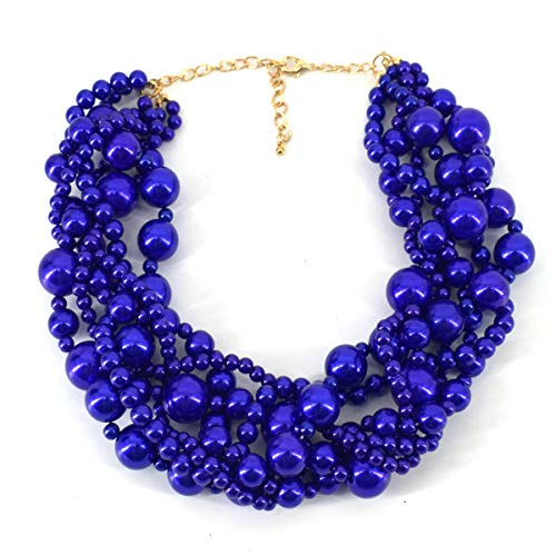Utop Simulated Pearl Choker Necklace for Women Bridal Wedding Pearl Statement Necklace (Blue 01)