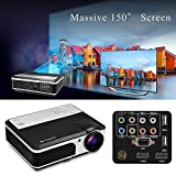 HD Phone Projector Outdoor Indoor, Video Movie Projector 1080p for Smarthone Mac PC USB XBOX PS3 PS4 DVD TV Cable Box,Gaming Projector with Built in Speakers Keystone Remote Free HDMI Cable