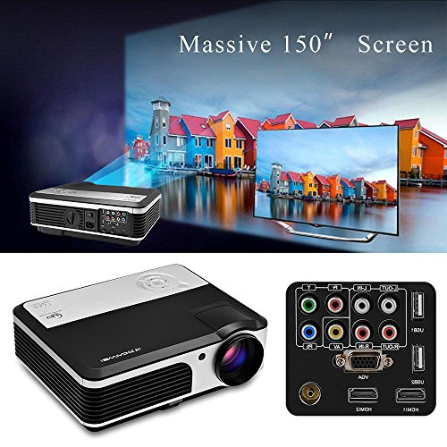 HD Phone Projector Outdoor Indoor, Video Movie Projector 1080p for Smarthone Mac PC USB XBOX PS3 PS4 DVD TV Cable Box,Gaming Projector with Built in Speakers Keystone Remote Free HDMI Cable by CAIWEI