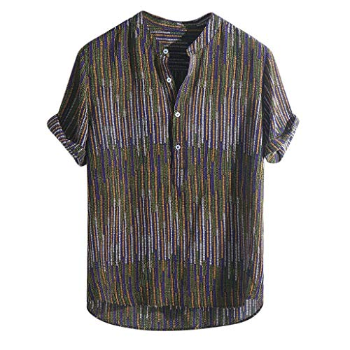 YKARITIANNA Mens Ethnic Printed Stand Collar Colorful Stripe Short Sleeve Loose Henley Shirt 2019 Summer Hot Sale