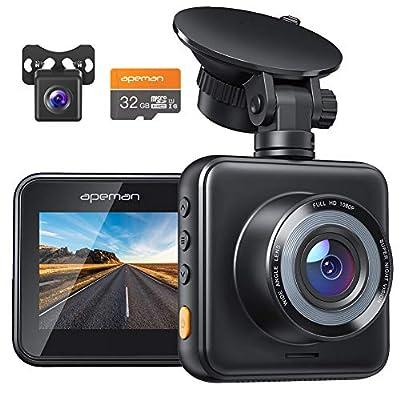 APEMAN Dashcam Vorne und Hinten Autokamera, 1080P FHD Mini Dual Lens Kamera, 170 ° Weitwinkel mit Nachtsicht, G-Sensor…