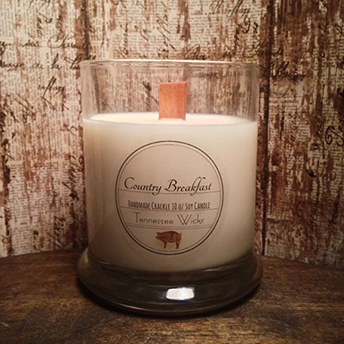 (Country Breakfast Scented Candle 10oz Natural Eco Hand Poured Soy Wooden Wicked Crackle Candle Tennessee Wicks)