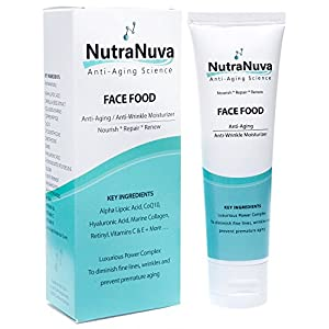 NutraNuva Face Food - Anti Aging Cream & Eye Wrinkle Moisturizer - Hyaluronic Acid, Peptides, CoQ10, Vitamin C & E, Retinol, PhytoCeramides, Marine Collagen – Natural Night / Day Skincare