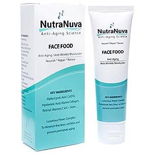 NutraNuva Face Food - Anti Aging Cream & Eye Wrinkle Moisturizer - Hyaluronic Acid, Peptides, CoQ10, Vitamin C & E, Retinol, PhytoCeramides, Marine Collagen – Natural Night / Day Skincare