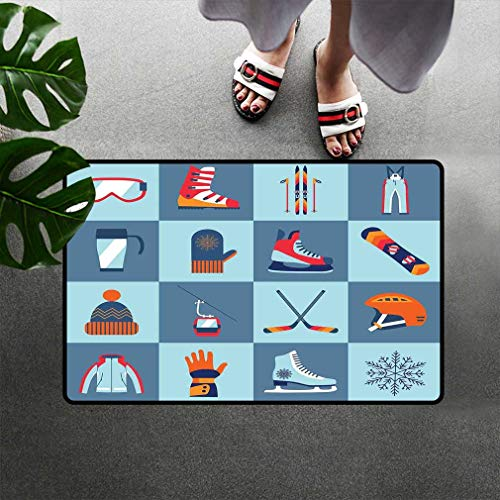 Bohogifts Sports Doormats, Ice Skating Winter Sports Skiing Boot Cap Glasses Skates Snowboard Low Profile Door Mats Rugs for Indoor Entry Easy Clean, 16'' W x 24''L Slate Blue Turquoise Orange ()