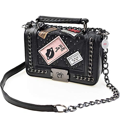 JZE Cross Body Fashion Rivet Chain Bag Single Shoulder PU Leather Side Purse Messenger Bag Hand bag for Women and Girls (Black), Small